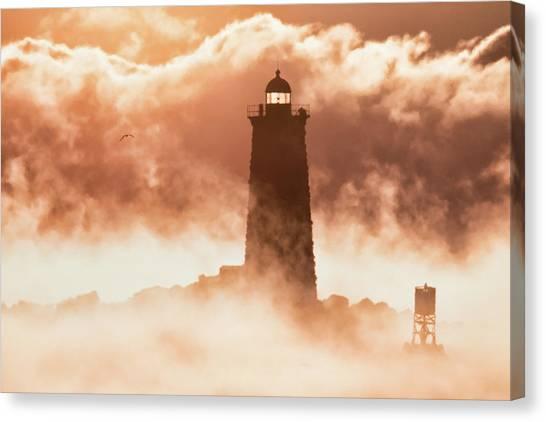 Sea Smoke At Whaleback Lighthouse Canvas Print