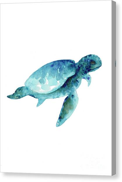 Watercolor Canvas Print - Sea Turtle Abstract Painting by Joanna Szmerdt
