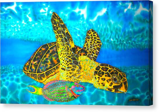 Sea Turtle And Parrotfish Canvas Print