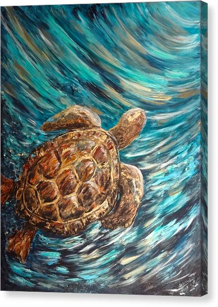 Sea Turtle Wave Guam Canvas Print