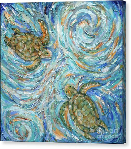Sea Turtles In The Current Canvas Print