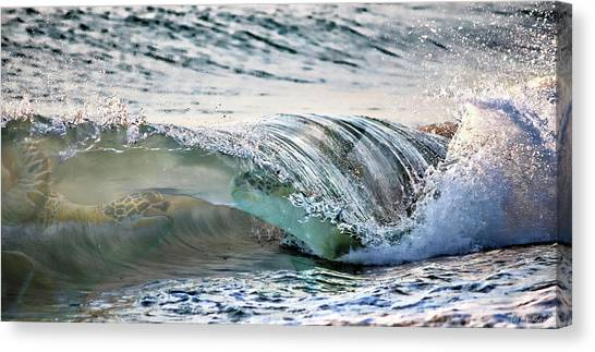 Sea Turtles In The Waves Canvas Print