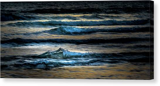 Sea Waves After Sunset Canvas Print