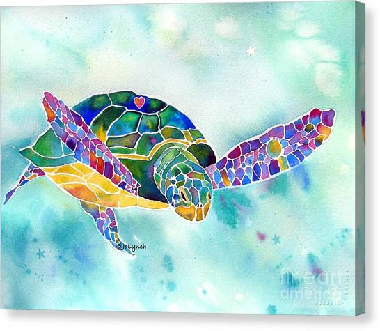 Print On Canvas Print - Sea Weed Sea Turtle  by Jo Lynch