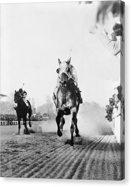 Finish Line Canvas Print - Seabiscuit Acrossing The Finish Line by Everett