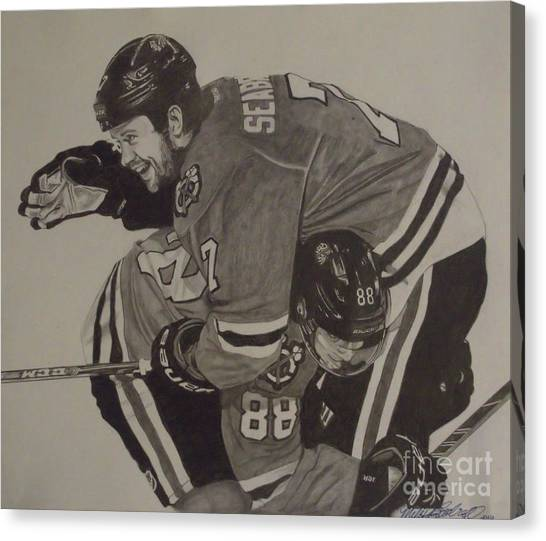 Patrick Kane Canvas Print - Seabs Scores The Winner by Melissa Goodrich