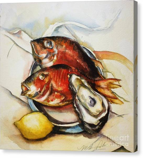 Precisionism Canvas Print - Seafood Charles Demuth Style by Misha Ambrosia