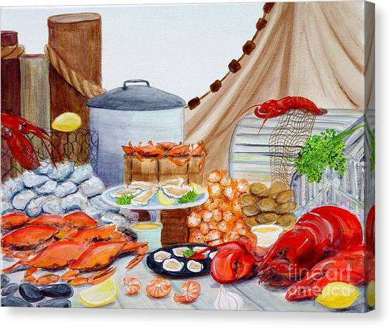 Seafood Feast Canvas Print by Pauline Ross