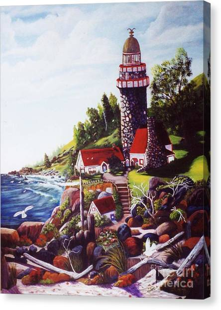 Seagull Cove And Lighthouse Canvas Print