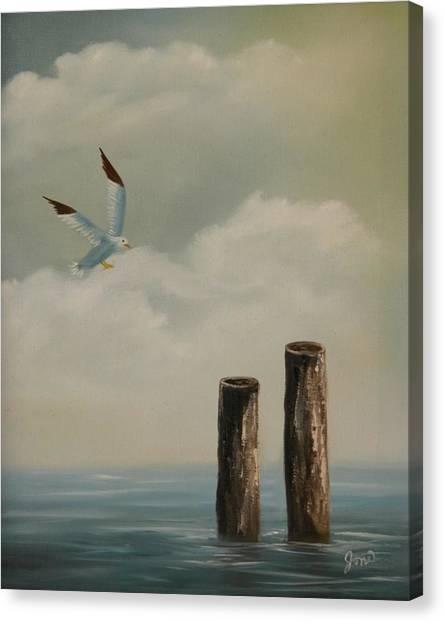 Seagull Landing Canvas Print