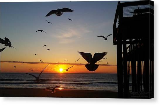 Seagulls At Sunrise Canvas Print