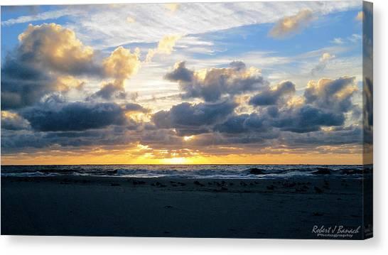 Seagulls On The Beach At Sunrise Canvas Print