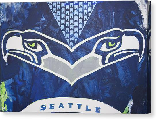 Canvas Print featuring the painting Seahawks Helmet by Candace Shrope