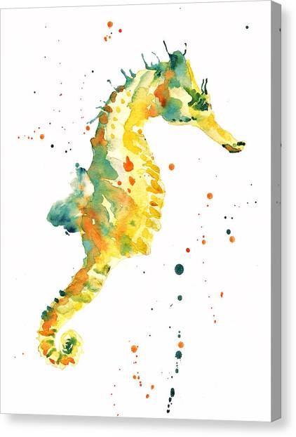 Coastal Art Canvas Print - Seahorse  - Yellow Seahorse by Alison Fennell