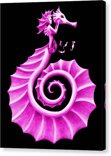 Mermaids Canvas Print - Seahorse Amy Purple by Sarah Krafft