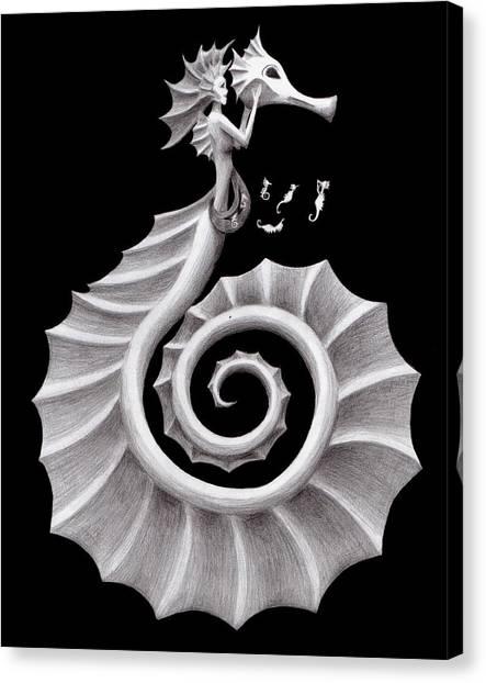 Seahorses Canvas Print - Seahorse Siren by Sarah Krafft