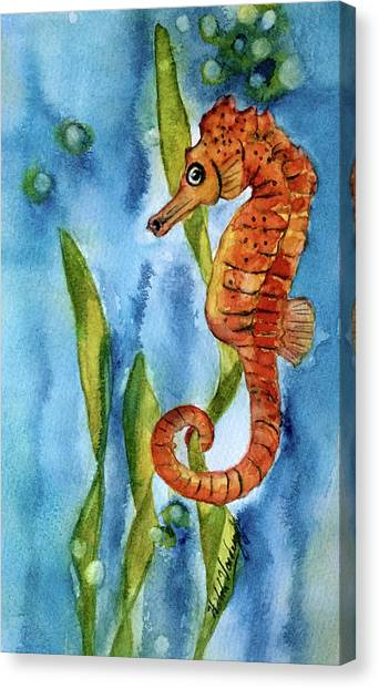 Seahorse With Sea Grass Canvas Print