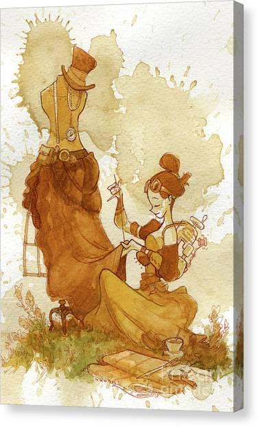 Steampunk Canvas Print - Seamstress by Brian Kesinger