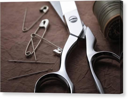 Sew Canvas Print - Seamstress Scissors by Tom Mc Nemar