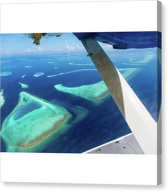 Seaplanes Canvas Print - Seaplane Over Maldives! Tag A Travel by Icemanphotos Icemanphotos