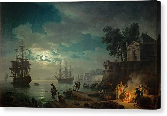 Seaport By Moonlight Canvas Print