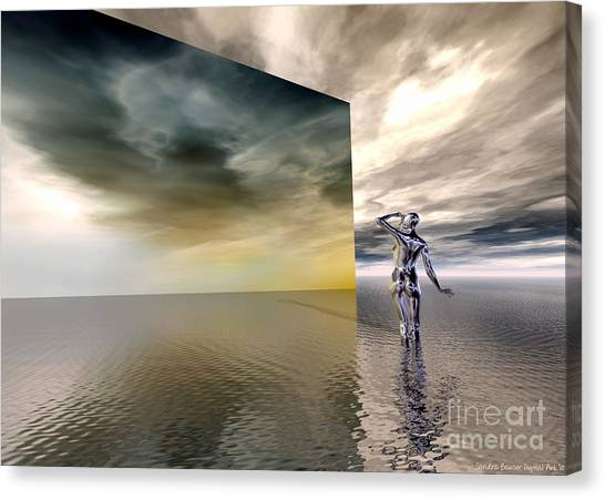Canvas Print featuring the digital art Searching by Sandra Bauser Digital Art
