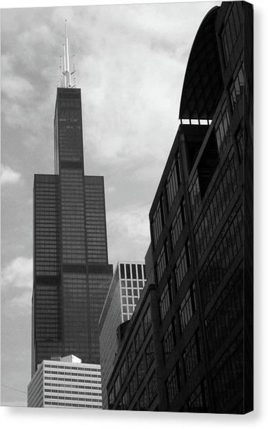 Sears Tower Canvas Print - Sears Tower B-w by Ely Arsha