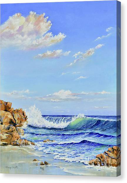 Canvas Print featuring the painting Seascape Beach by Mary Scott