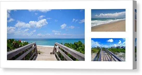 Seascape  Boardwalks Treasure Coast Florida Collage 1 Canvas Print
