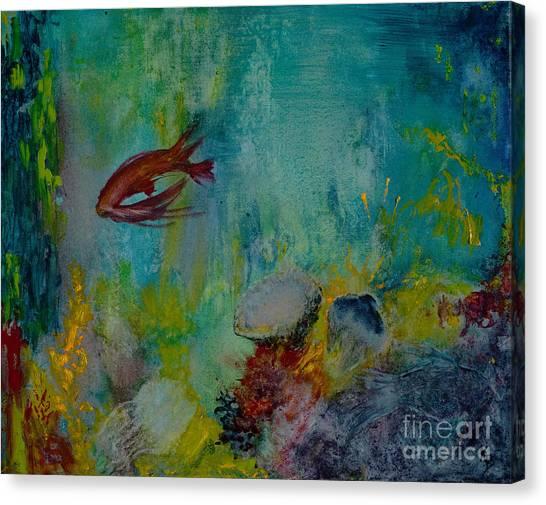Canvas Print featuring the painting Seascape by Karen Fleschler