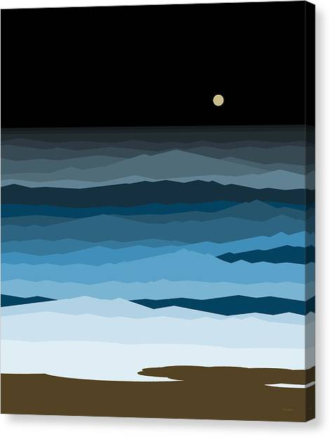 Abstract Seascape Canvas Print - Seascape - Night by Val Arie