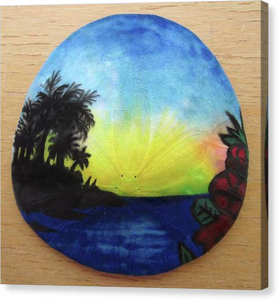 Seascape On A Sand Dollar Canvas Print