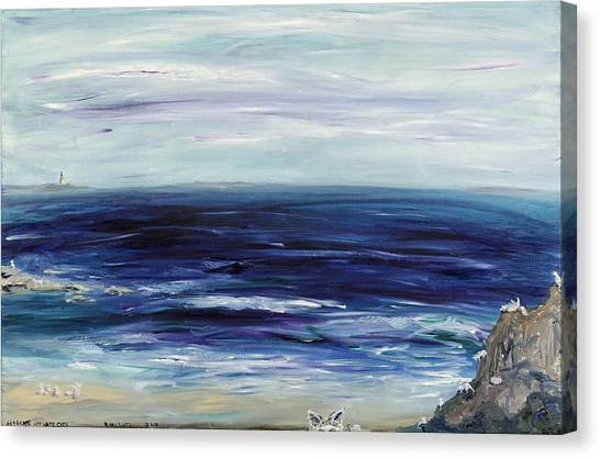 Seascape With White Cats Canvas Print