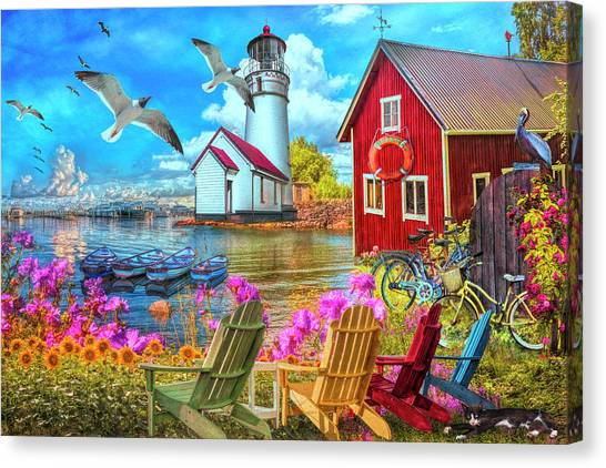 Canvas Print - Seaside Invitation At The Harbor Painting by Debra and Dave Vanderlaan