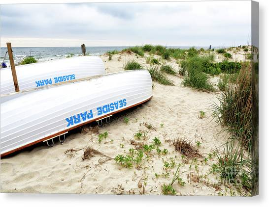Lifeguard Canvas Print - Seaside Park Lifeguard Boats by John Rizzuto