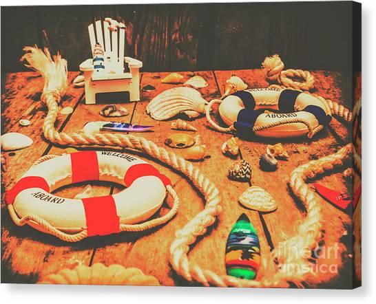 Beach Resort Canvas Print - Seaside Ropes And Nautical Decks by Jorgo Photography - Wall Art Gallery