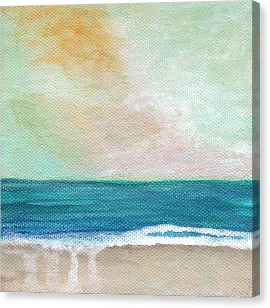 Peaches Canvas Print - Seaside Sunset- Expressionist Landscape by Linda Woods