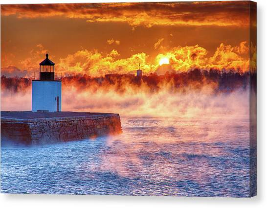Seasmoke At Salem Lighthouse Canvas Print