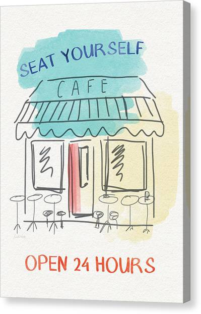 Cafes Canvas Print - Seat Yourself Cafe- Art By Linda Woods by Linda Woods