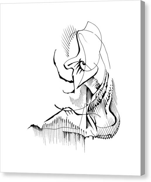 Canvas Print featuring the drawing Seated Ennui by Keith A Link