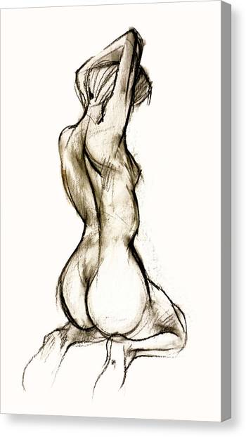 Woman Canvas Print - Seated Female Nude by Roz McQuillan