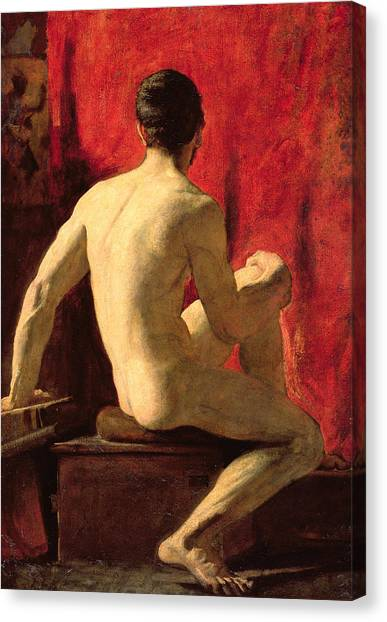 Sexuality Canvas Print - Seated Male Model by William Etty