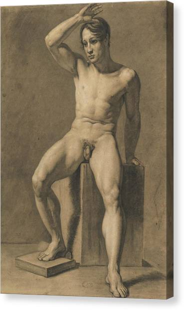 Male Nude Art Canvas Print - Seated Male Nude by Anselm Feuerbach