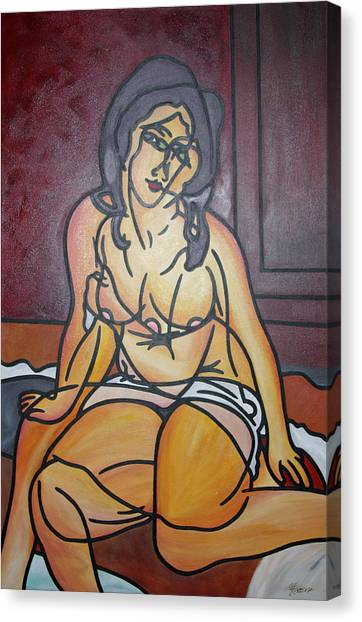 Seated Nu Canvas Print by Guadalupe Herrera
