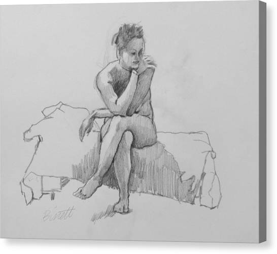 Seated Nude 2 Canvas Print by Robert Bissett