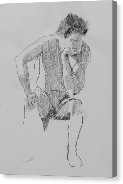 Seated Nude 3 Canvas Print by Robert Bissett