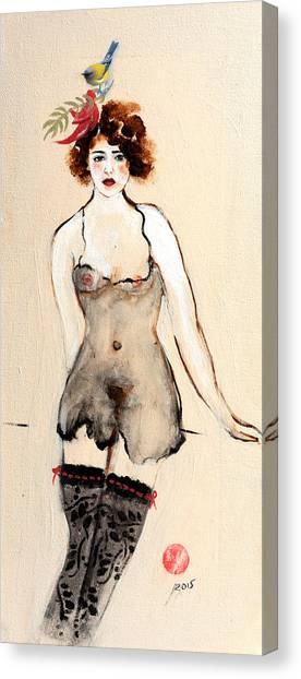 Nipples Canvas Print - Seated Nude In Black Stockings With Flower And Bird by Susan Adams
