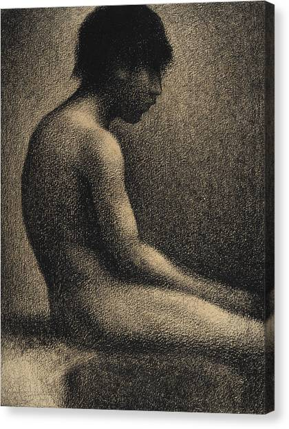 Post-impressionism Canvas Print - Seated Nude Study For Une Baignade by Georges-Pierre Seurat