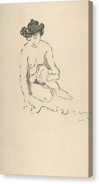 Divisionism Canvas Print - Seated Nude Woman by Paul Signac