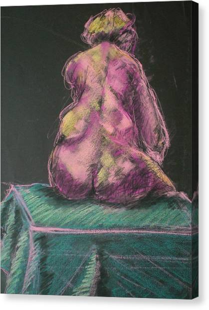 Seated Pink Nude Canvas Print by Aleksandra Buha